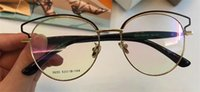 Wholesale Plain Fashion Glasses For Women - New fashion designer Optical glasses 9033 cat eye metal hollow frame transparent lens eye glasses for women with original box