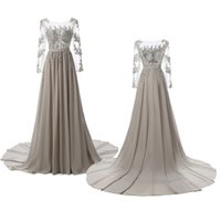 Wholesale Long Sleeved Party Dresses - SSYFashion the Bride Banquet Evening Dress Long Sleeved Grey Chiffon Lace Embroidery Sexy Backless Court Train Prom Formal Dress Party Gown
