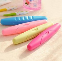 Wholesale Plastic Case Toothbrush - Portable Plastic Toothbrush Box For Travel Camping Home Brush Cap Organizer Case Box Candy Color Seal Cover Waterproof Leakproof