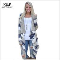 Wholesale Open Knit Sweater Pattern - Wholesale-Women Autumn Winter Sweater Casual Geometric Patterns Tops Women Cardigans Long Sleeve Open Stitch Sweater Fashion Warm Coat