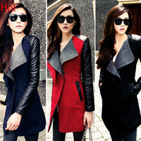 Wholesale Womens Leather Parka Coats - 2016 Hot Autunm Winter Fashion Womens Lady Long Warm Leather Sleeve Wool Trench Coat Parka Windbreaker Turn-down Collar Patchwork Coat 18970