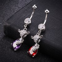 Wholesale stainless steel fox ring for sale - Group buy 18k White Gold Plated Super Sexy Belly Ring Crystal Fox Navel Bell Button Rings Trendy Crystal Belly Ring For Women BR