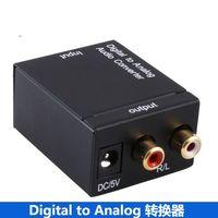convertidor digital gratis al por mayor-Envío gratis Convertidores digitales a analógicos Convertidor de audio Óptica digital Coaxial RCA Toslink a adaptador de convertidor de audio analógico