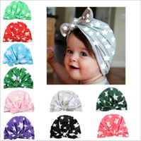 Wholesale Turban Baby Hat - Baby Hats Girls INS Bunny Ear Caps Knot Bow Turban Fashion Stars Head Wraps Kids India Soft Hats Winter Beanie Print Headwear B2665