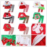 Wholesale Tutus For Girls Low Price - Kids Christmas Clothing Sets Christmas Outfit 12M-5T Shirt and trousers Low Price For Girls