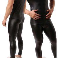 pantalones de cuero para hombre flaco al por mayor-Al por mayor-alta calidad para hombre negro de imitación de cuero de patente flaco lápiz pantalones PU estiramiento polainas hombres Sexy Clubwear Bodywear pantalones