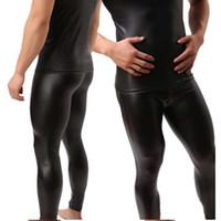 deri pantolon erkek toptan satış-Toptan-Yüksek Kalite Mens Siyah Faux Patent Deri Sıska Kalem Pantolon PU Streç Tayt Erkekler Seksi Clubwear Bodywear Pantolon