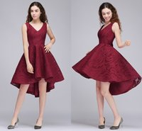 Wholesale Tea Length Empire Girls Dress - Vintage Hi Lo A Line Prom Dresses V Neck Full Lace Short Homecoming Party Dresses for Girls Cheap High Quality Prom Gowns Cps682