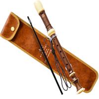 instrumentos china al por mayor-Al por mayor-Inglés-estilo Clarinete Chino Flauta Vertical dizi Plating Wood Grain Flute agujero abierto High C Key 8 Agujero instrumento de música