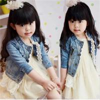 Wholesale oxford style jackets resale online - Babies clothes denim lace girls jackets Girls Leisure Washed Denim Jacket kids clothing children Overcoat Outwear
