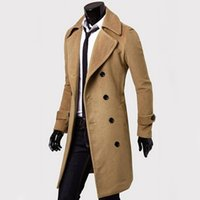 Wholesale men s fitted trench coat - Wholesale- 2016 Fashion Brand Trench Coat Men Double Buttons Sobretudo Masculino Slim Fit Long Trench Coat For Men Autumn Overcoat
