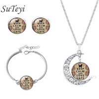 Wholesale Cat Face Necklace - Newest Life Tree &Lovely Cats Statement Necklace Bangles Bracelets stud earring Jewelry Sets Vintage Silver Color Jewelry Women Men Christma