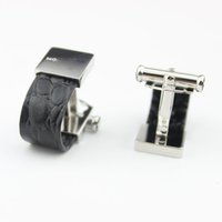 Wholesale Cufflink Silver - High quality stainless steel star bulk genuine leather cufflinks for men