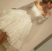 Wholesale new tea shirt resale online - Bling Sparkly Ivory Short Cocktail Dresses New Off the Shoulder Long Sleeve Tea Length Short Prom Dress Arabic Formal Party Wear