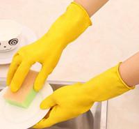 wasserdichte geschirrspülhandschuhe großhandel-Dhl gummi haushaltshandschuhe für die reinigung langlebig geschirr hausarbeit handschuh küche waschen waschen geschirr kleidung wasserdichte gummihandschuhe