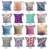 Wholesale Wholesale Cloth Diaper Fabric - 48 styles Baby Diaper Bags 36*28cm Portable Nappy Stackers Wet Dry Cloth Storage Bag Zipper Waterproof Diaper Bag Infant Nappy Stacker D867