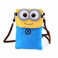 Wholesale High Quality Children Backpacks - Cute Minion children 's cell phone bag plush Messenger bag cartoon bag low - cost high - quality