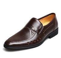 Wholesale Big Heels For Men - 2017 summer Latest Groom dress shoes Men's breathable Hollow out PU leather shoes for men's Hole hole leather sandals Big size 38-45 AXX120