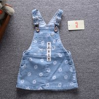 Wholesale Jumpsuit Jeans For Baby Girl - Wholesale- Baby dress 2016 Fall Baby girl clothes flowers Denim Overalls infantil Cowboy Jeans dresses jumpsuits for kids Dress christmas