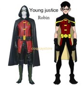 Wholesale Robin Costume Adult - Justice League Robin Costume adult Outfits Suit Uniform+eye Mask+Gloves Set Halloween Cosplay Costume