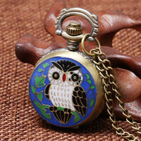 Wholesale Owl Watch Pendant Wholesale - Wholesale-Fashion Pendant Necklace Small Size Blue Owl Design Pocket Watch Gift For Birthday Christmas Children Girls