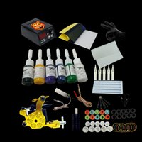 Wholesale Complete Tattoo Machine Set Coils Guns Colors Ink Power Supply Beginner Tattoo Kits Permanent Makeup Tattoo Kit