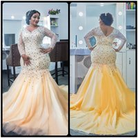 Wholesale Shiny Evening Gowns - Elegant Plus Size Evening Dresses Beaded Shiny Crystal Long Sleeves Prom Dress African Mermaid Evening Party Dress For Women Gowns