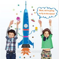 Wholesale ballon Cartoon Vinyl Rocket Stars Space Craft Stickers For Kids Room Mural Decoration With Height Scale Kids Room Decoration