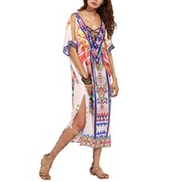 Wholesale Ladies Chiffon Sun Dresses - Gold Hands Summer Women's Loose Sun Shirt Dress Printed Split Dress For Lady Women With Sexy Style Free Shipping