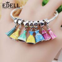 Wholesale European Lampwork - EDELL Promotion Enamel Princess Dress Sterling Silver Big Hole Pandora Disney Charm Pendant with Cute Pendant Fit European Bracelet Bangle
