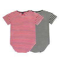 Wholesale Casual Sleeved Black For Men - Fashion Men High Street brand new style tide male Casual short sleeved stripe O-Neck t-shirt for men