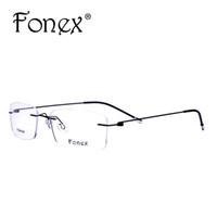 óculos de designer de titânio sem aro venda por atacado-Atacado- fonex 2017 moda titanium miopia óculos sem aro memória quadrado óculos de armação óptica óculos homens mulheres marca designer 9201