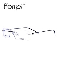 e8a9910d0c0 Wholesale- Fonex 2017 Fashion Titanium Myopia Rimless Glasses Memory Square Eyeglasses  Optical Frame Eyewear Men Women Brand Designer 9201