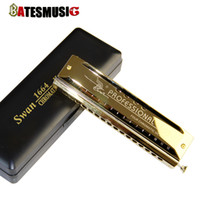 Wholesale Harmonica 16 - SW1664 Professional Mouth Organ Instrument C Key 16 Hole Harmonica with Four Chromatic Octaves Golden Laser Print