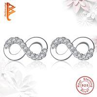 Wholesale Wholesale Studs Shapes - BELAWANG For Women Jewelry 925 Sterling Silver Infinity Stud Earrings Forever Love 8 Shape Earrings Wedding Valentine's Day Gift Wholesale