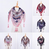 Wholesale Wholesale Ladies Winter Scarves - Wholesale- Fashion Women Boho Long Blanket Scarf Square Scarves Tassel Printed Wraps Ladies Shawls winter Luxury Scarves
