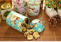 Wholesale Tea Tin Europe - 1pcs Europe type style Tea caddy receive box candy storage box wedding favor tin box cable organizer container household