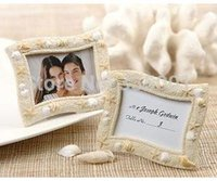 Wholesale Seashell Card Holders - wedding gift and giveaways--'Seaside' Sand and seashell Place Card Holder Photo Frame Wedding Favors 100pcs lot