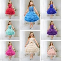 Wholesale Silver Beads For Clothes - Formal girls Dress For Girls 2017 Princess Wedding Party pageant Bridesmaid Dresses little Girl Clothes 3-14Years flower Dress