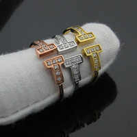 Wholesale Love Double Finger Ring - New rose gold silver pated titanium steel opening double T letter rings for women fashion crystal finger love ring bague femme men rings