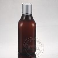 botellas cosméticas de plástico ámbar al por mayor-Al por mayor- 30PCS-200ML aluminio anodizado Press Screw Cap Bottle, contenedor de cosméticos de plástico de color ámbar, embotellado de suero vacío, botella de champú