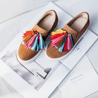 Wholesale Colorful Platforms - 2017 Newest Loafers Women Flat Platform Thick Bottom Shoes Colorful Fringe Casual Shoes Comfortable Walking Single Shoes Student