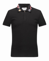 Wholesale Casual White Shirts For Men - Wholesale 2017 New Luxury Brand Embroidery t shirts For men Italy Fashion polos High Street Snake Little Bee Tiger Print Mens Polo shirt