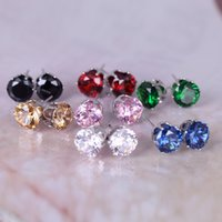 Wholesale Colorful round mm zircon ear stud colors super shiny Imitation rhodium plated allergy free earrings Exquisite beautiful jewelry