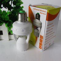sensor lâmpada automática lâmpada venda por atacado-Ajustável 360 Graus 60 W Infrared Motion PIR Sensor Automático LEVOU Lâmpada Luz E27 B22 E14 Interruptor Titular Tomada Sensor de Luz da lâmpada AC 110-240 V