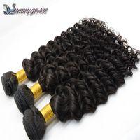 Wholesale Black One Piece Curly Hair - 2017 100% human hair virgin Indian hair weave big water curly for black woman cheap Indian,Peruvian,Malaysian original human hair deep curly