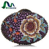 Wholesale Silk Peony Ivory - Milisente Women Crystal Clutch Evening Bags Peony Flower Oval Shaped Wedding Party Purses For Blue Dark Purple