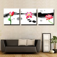3 Pcs / Set lotus Resumo China Modern Home Wall Decor pintura Canvas Art HD Print Pintura para sala de estar # 123
