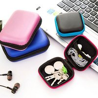 Wholesale Cable Storage Boxes - Colorful Earphone Cable Mini Box Portable Headphone Charger Zipper Bag Carrying Pouch Pocket Case Cover Storage