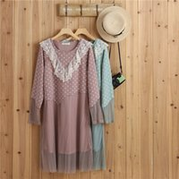 2017 Весенняя осень Японская девушка Harajuku Mori Pink Green Color Patchwork Dot Lace Loose Casual Women Dress Vestidos Faldas